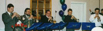 Fired Up! trumpet section at Bill Adam 80th birthday party
