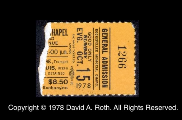 André concert ticket sub - 1978